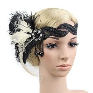 Roaring 20s Flapper Feather Lace Headband